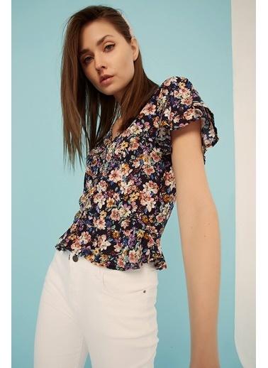 Modaset Fırfırlı Çiçek Desen Bluz  Lacivert